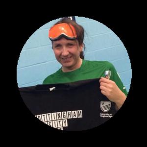 Sarah Stephenson-Hunter holding a Nottingham university shirt