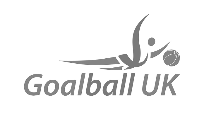 Goalball UK's logo but with a black and white effect.