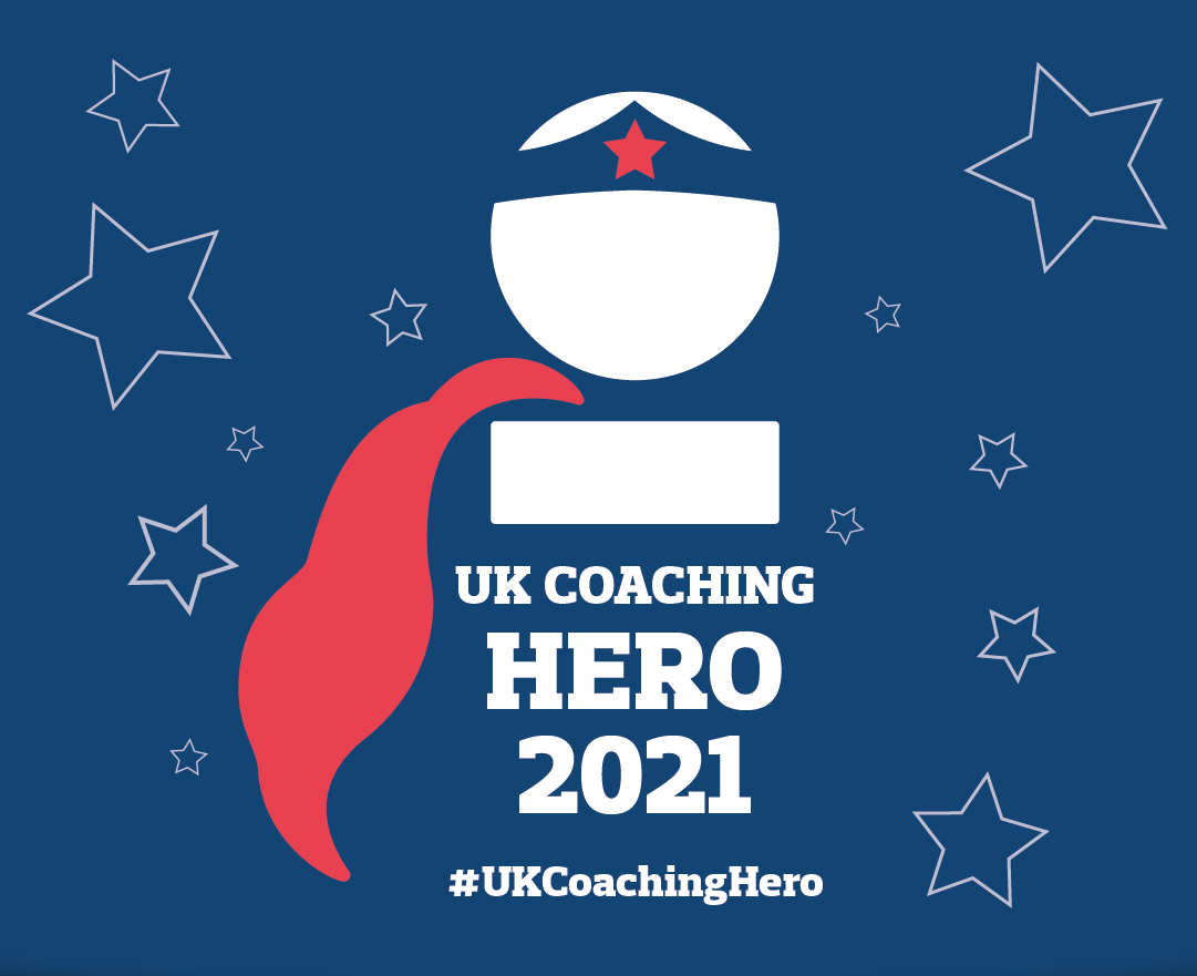Image shows the UK coaching heroes logo featuring the basic outline of a person who has a cape on