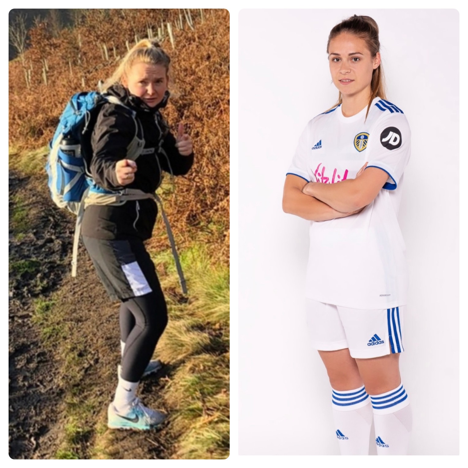 A split photo of Jodie Redgrave and Josie Hewson. Jodie is out walking in nature whilst Josie is pictured in her Leeds United kit.