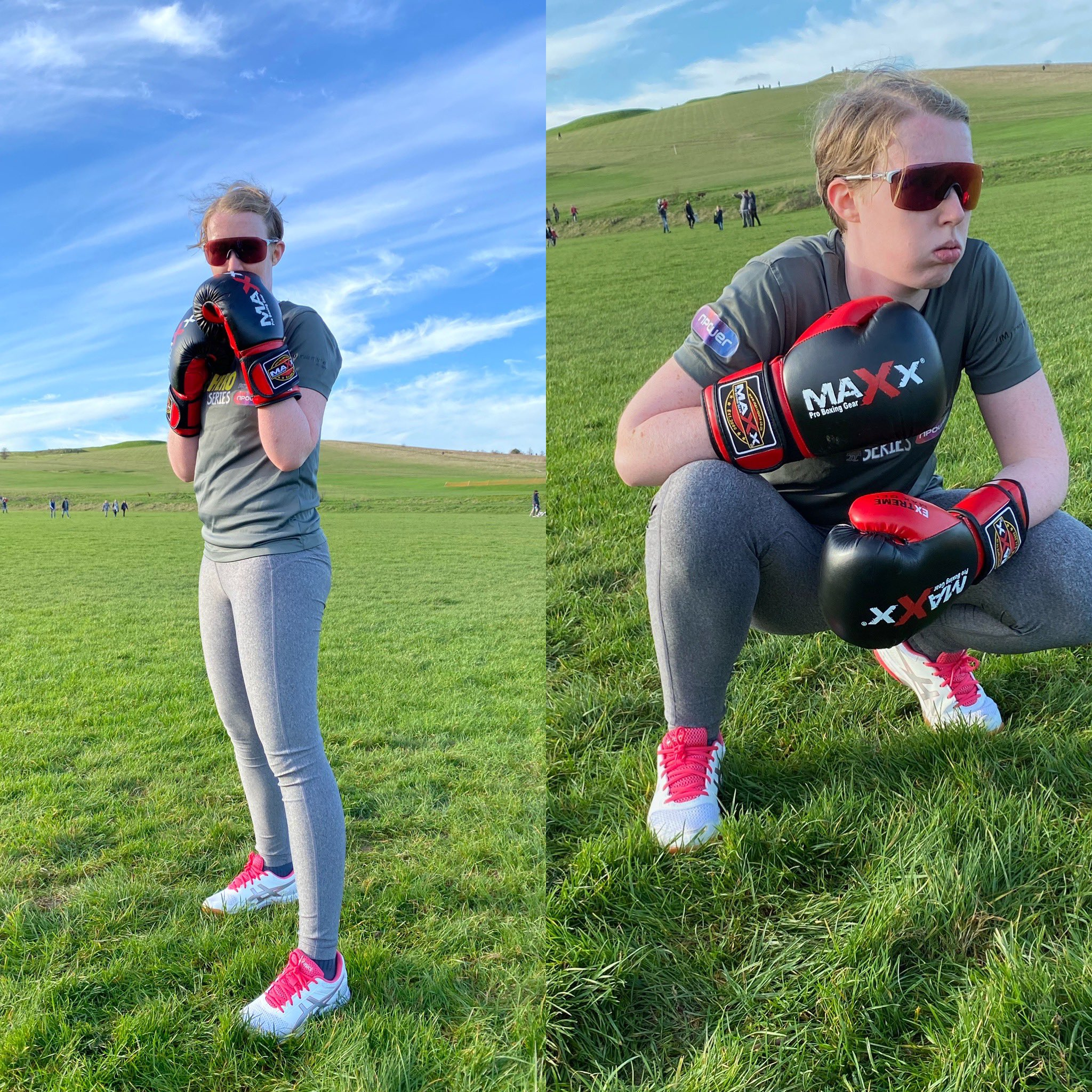 Two images, one of Georgie stood in a boxing stance with her boxing gloves on and the other of her crouched down with her boxing gloves on.