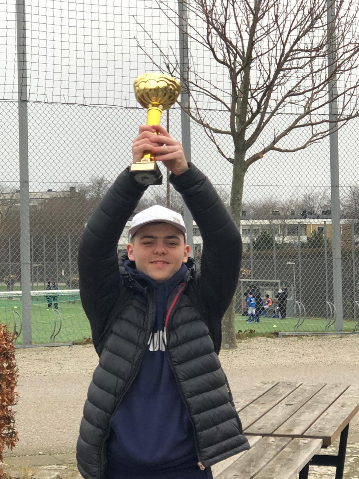 Jack Peters championing the Malmo top scorer trophy! Big cheese on here.