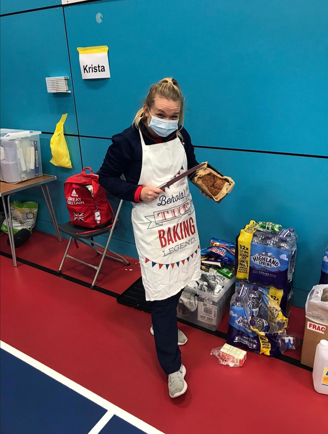 Jodie Redgrave at a Great Britain Camp showing off her baking skills.