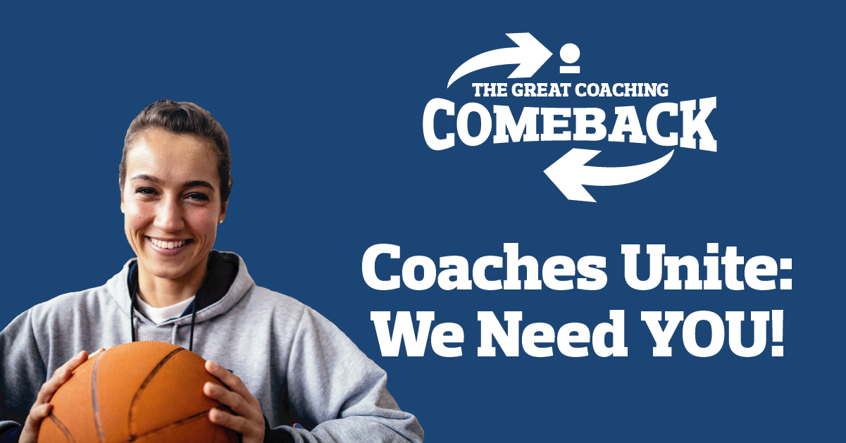 """UK Coaching banner for their """"Great coaching comeback"""" with a lady holding a basketball underneath the logo."""