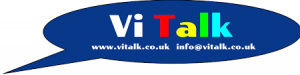 VI Talk in a speech bubble with website address and email address below