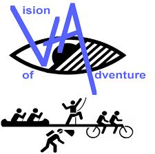 An eye with 'stickmen' canoeing, caving, climbing and tandem cycling below