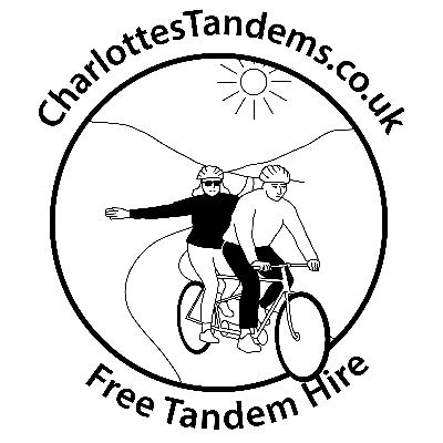 Charlotte's Tandem logo which is a tandem riding through a valley with the sun shining