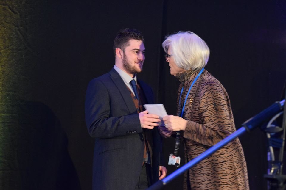 Ciaron Naughton receiving the Prince of Wales award.