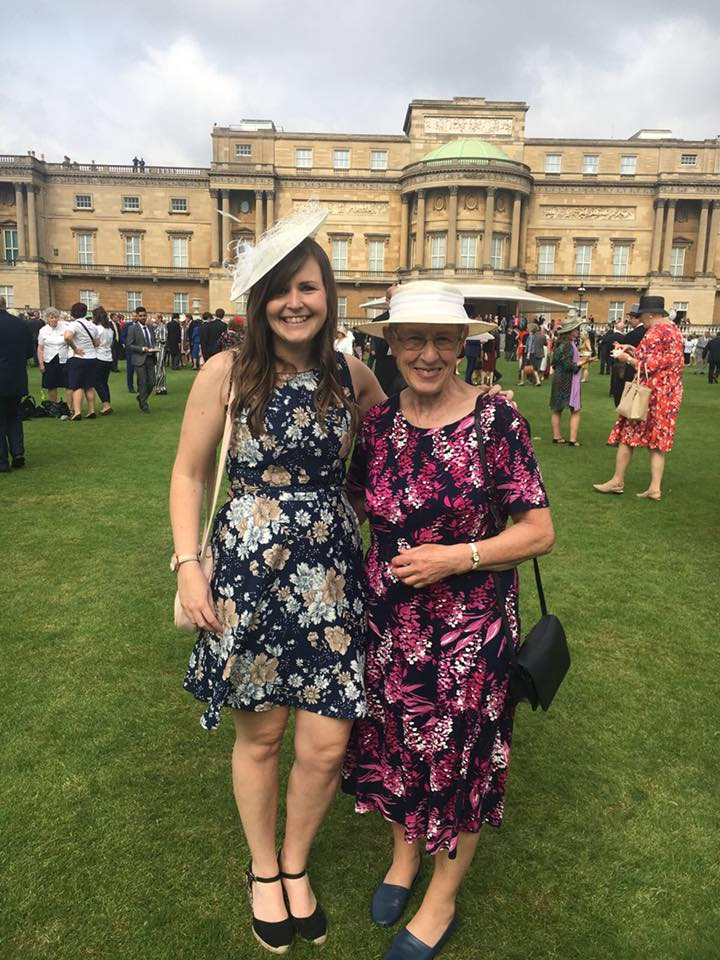 Dina Murdie and Becky Ashworth stood together at Buckingham Palace Garden Party.