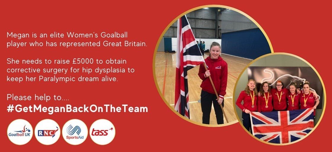 Megan Smithson-Booth fundraiser promotional image showing Megan holding a GB flag.