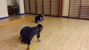 Mohammed Javid playing in centre at a Kirklees Goalball Club session.