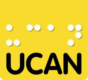 UCAN logo which is a yellow square with UCAN written in black letters and white Braille