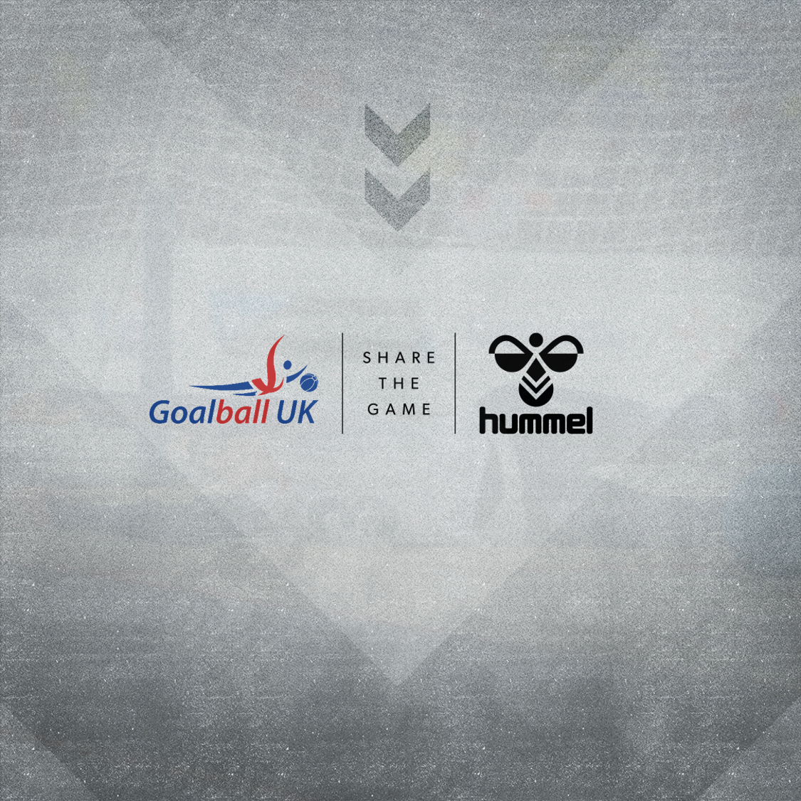 Goalball UK logo in front of a grey background next to Hummel's logo, to announce the partnership!