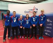 Faith Johnson stood in a South Yorkshire group photo at a north region tournament in Sheffield.