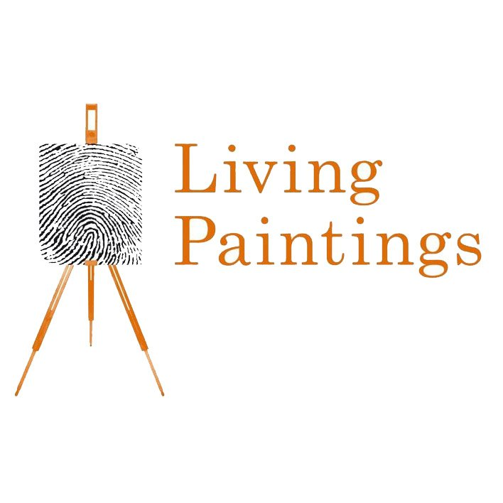 An easel with 'Living Paintings written at the side.