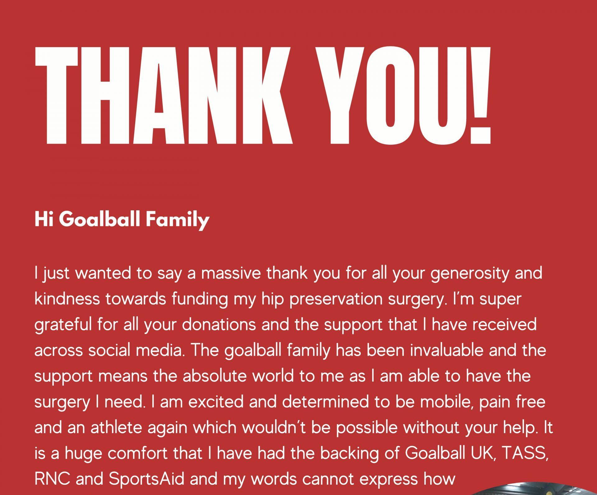 Megan Smithson-Booth open letter thanking the #GoalballFamily.