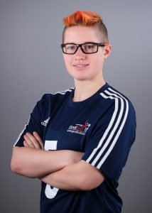 Meme Robertson stood in her GB kit with her arms folded.