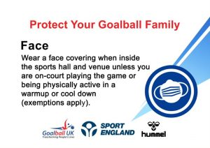 Protect your goalball family, face. It shows a paragraph of writing demonstrating that people need to wear face masks unless playing on court.