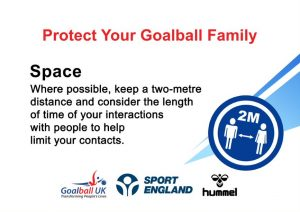 Protect your goalball family promotional image - space. It has a paragraph of writing saying people must keep a 2 metre distance from one another and consider the length of time mixing with others.