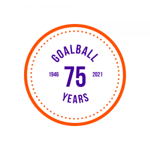 A circle with an orange outline with 'goalball 75 years' in the middle in purple writing, with the years 1946 and 2021 either side of the writing.