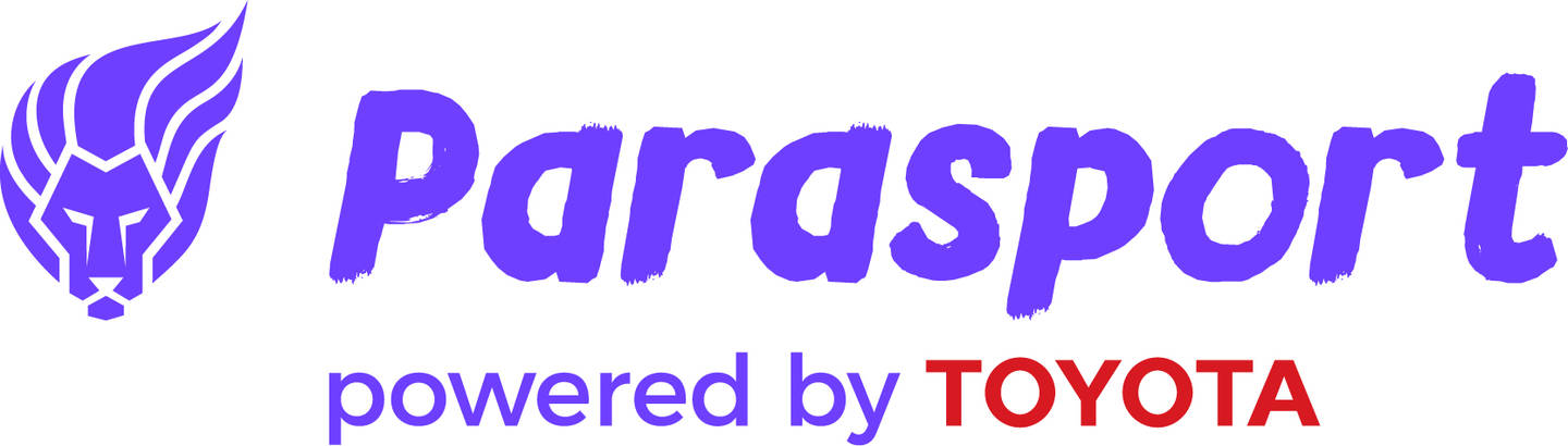 Parasport logo with purple writing of Parasport with the ParalympicsGB lion and Toyota in red.